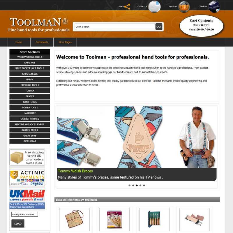 Website by Graphicz for Toolman fine handtools for professionals